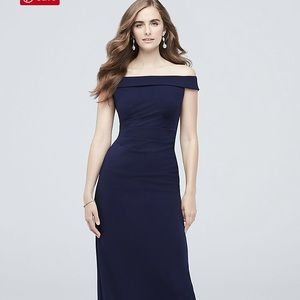 Navy Off shoulder stretch crepe ruched dress